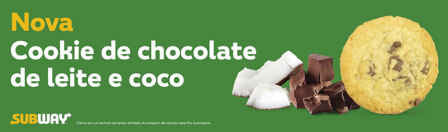 Cookie de chocolate de leite de coco